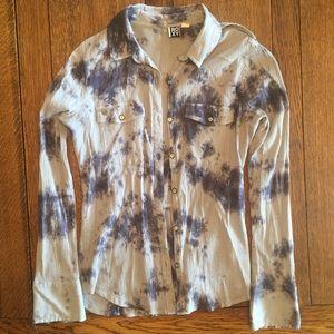 Tie Dye Print Button Down Shirt